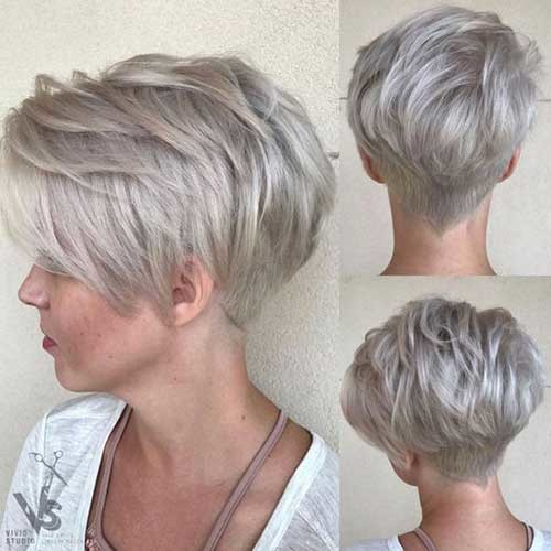 White-Blonde-Hair-Color Charming Stacked Short Haircuts for Women
