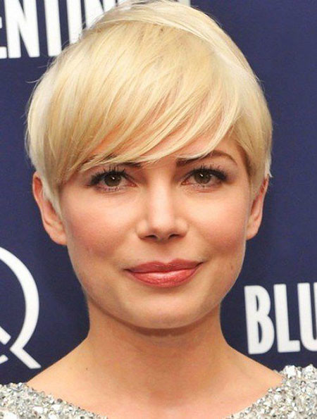 Blonde-Hair Short Haircuts for Women with Round Faces