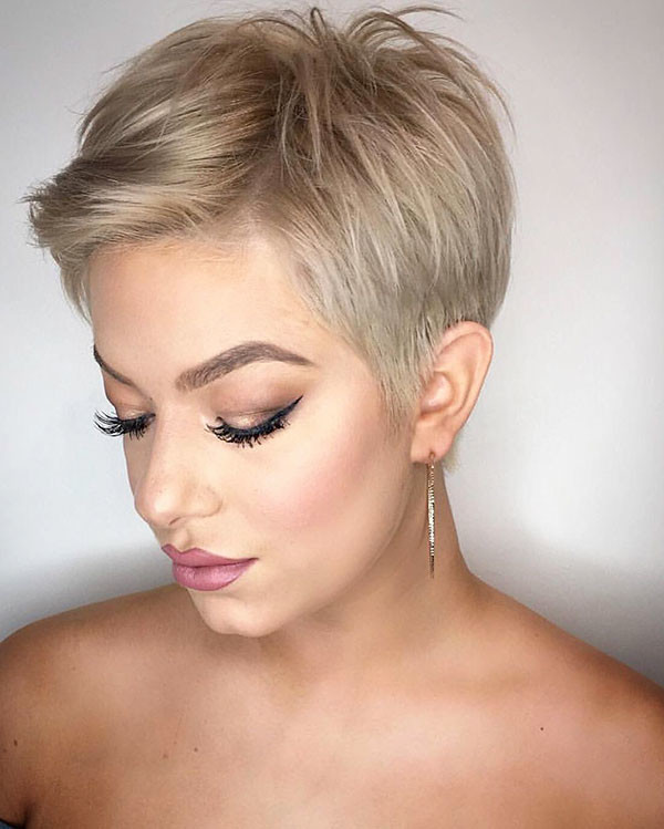 Blonde-Pixie-Cut New Pixie Haircut Ideas in 2019