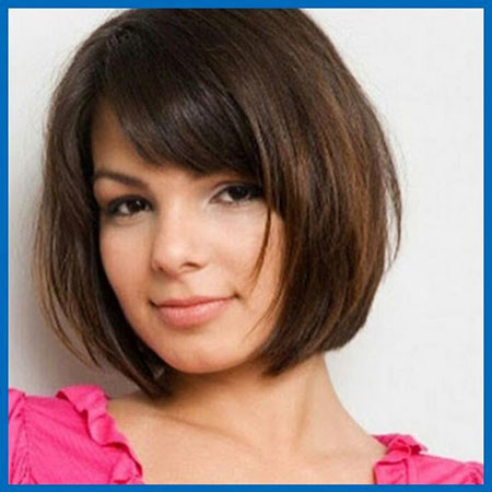 Bob-Cut-with-Bangs Short Haircuts for Women with Round Faces
