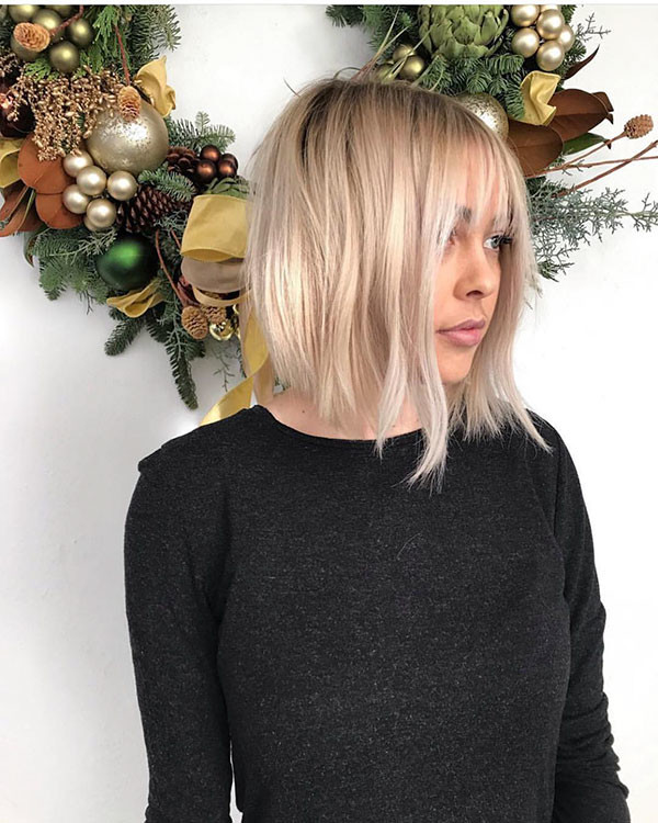 Bob-with-Bangs New Short Blonde Hairstyles