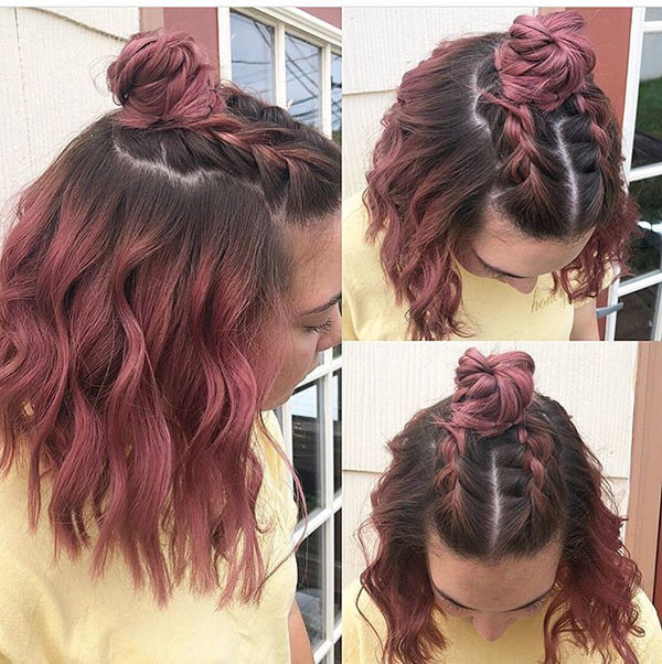 Braided-Half-Bun Amazing Braids for Short Hair