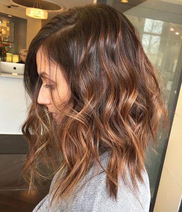 Caramel-Hair-Color Best Short Wavy Hair Ideas in 2019