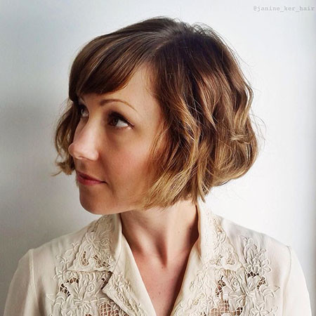 Chin-Length-Bob-with-Bangs Short Bob Haircuts for Women