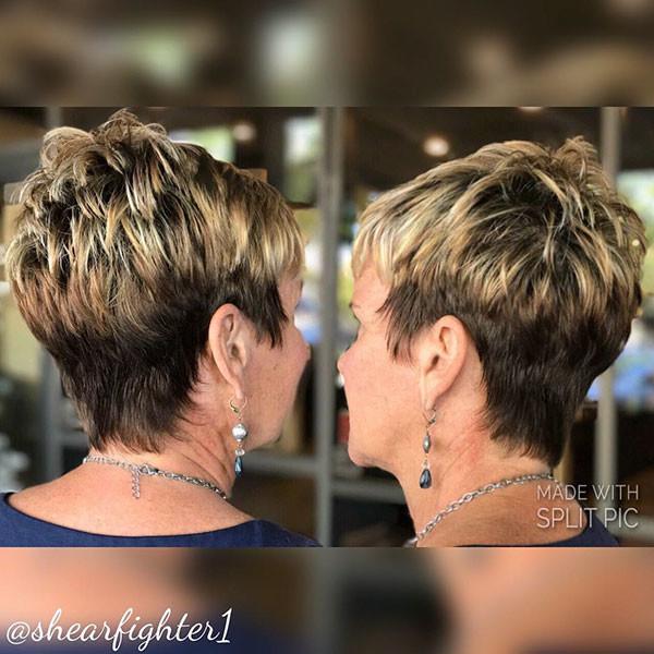 Choppy-Layered-Pixie Best Short Hairstyles for Older Women in 2019