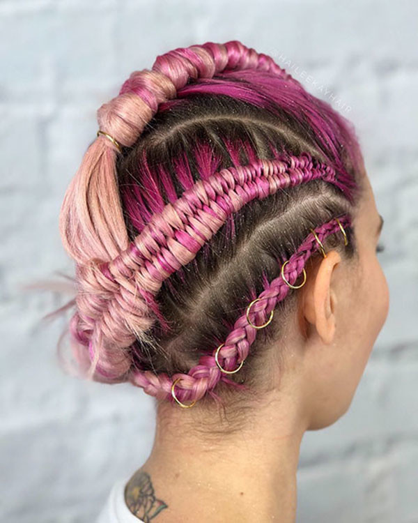 Cute-Colored Amazing Braids for Short Hair