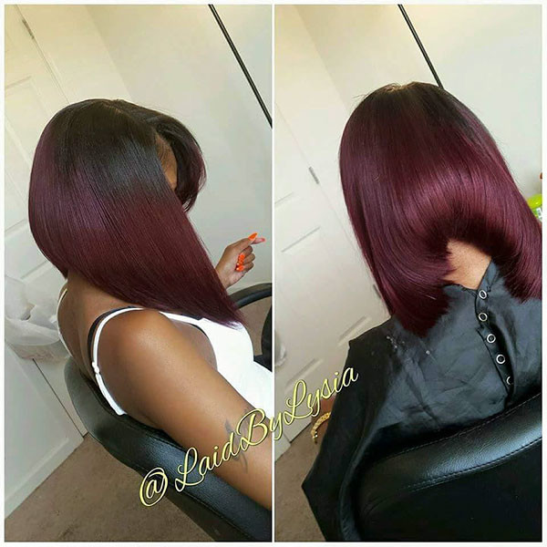Dark-Burgundy-Hair-Color Best Bob Hairstyles for Black Women Pictures in 2019