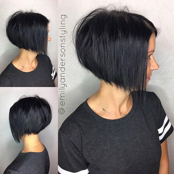 Dark-Inverted-Bob Beautiful Short Hair for Girls