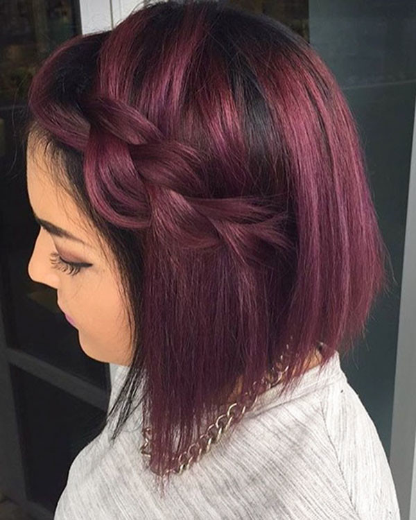 Dark-Red-Purple-Bob Amazing Braids for Short Hair