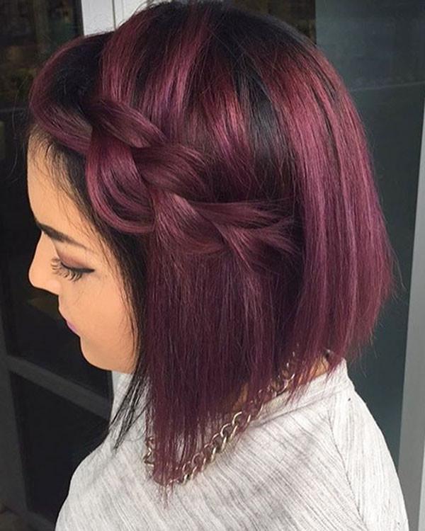 Dark-Red-Purple-Bob Amazing Braids for Short Hair