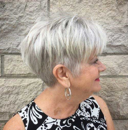 Grey-Blonde-Hair-Color Chic Short Haircuts for Women Over 50
