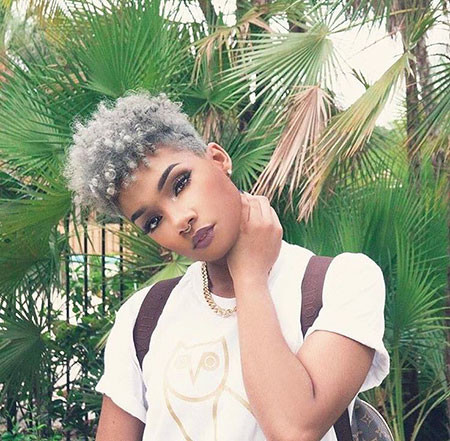 Grey-Natural-Hair Short Natural Hairstyles with Color