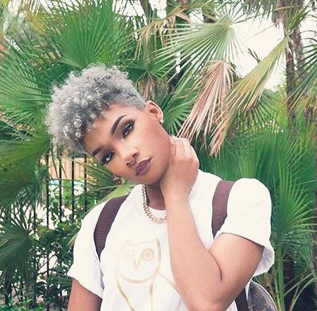 Grey-Natural-Hair Short Natural Hairstyles with Color
