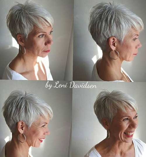 Grey-Pixie Chic Short Haircuts for Women Over 50