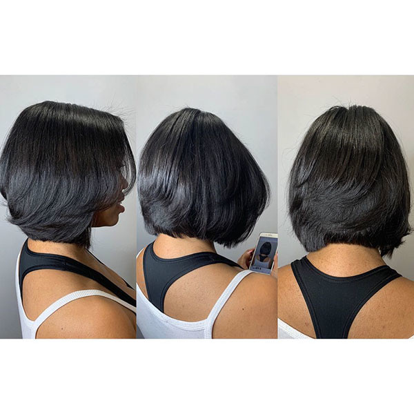 Layered-Bob-Cut Best Bob Hairstyles for Black Women Pictures in 2019