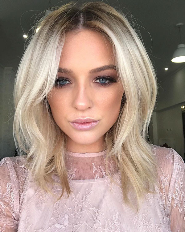 Long-Blonde-Bob-with-Dark-Roots New Short Blonde Hairstyles