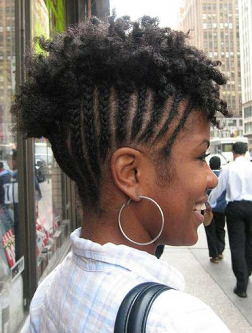 Natural-Hair-Mohawk-with-Braids Braids for Black Women with Short Hair