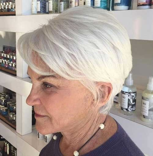 Natural-White-Hair Chic Short Haircuts for Women Over 50