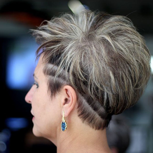 Shaved-Sides Best Short Hairstyles for Older Women in 2019