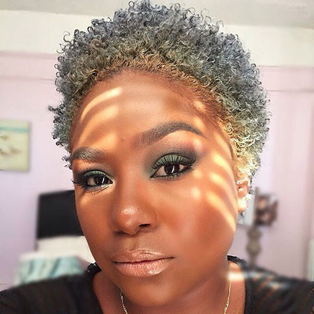 Short-Natural-Grey-Hair Short Natural Hairstyles with Color