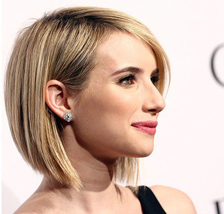 Side-View-of-Textured-Short-Bob-Hairstyle Popular Short Straight Hairstyles