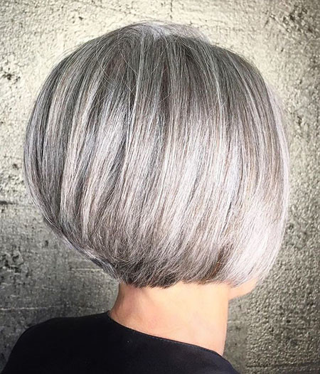 Silver-Gray-Bob Short Bob Haircuts for Women