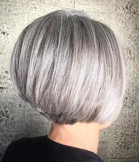 Silver-Gray-Bob Short Bob Haircuts for Women