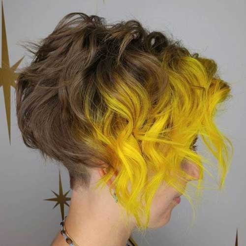 Wavy-Inverted-Short-Hair-with-Neon-Yellow-Dyed-Ombre Cute Short Hairstyles and Cuts You Have to See