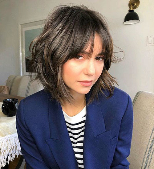 46-short-layered-hair-with-bangs Best Short Layered Bob With Bangs