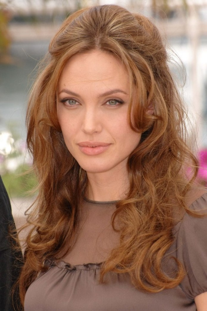 Angelina-Jolies-Relaxed-Wavy-Half-Up Hairstyles for Women Over 40