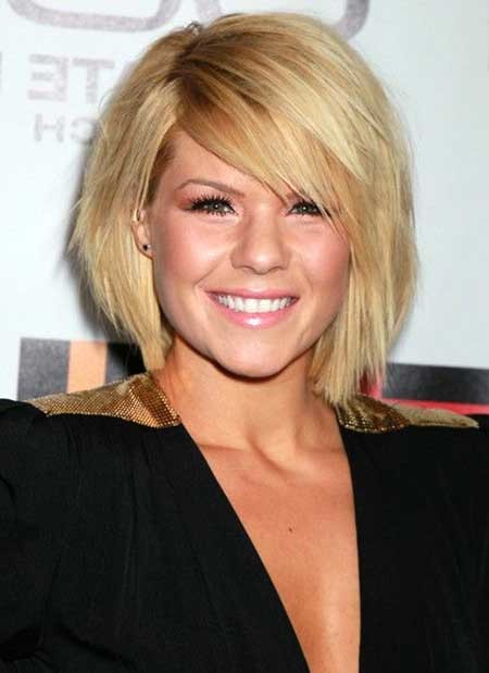 Blonde-Thick-Angled-Bob Beautiful Short Celebrity Hairstyles