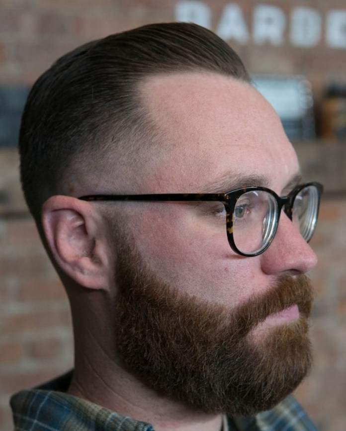 Brushed-Back-Taper-Fade-1 Selected Hairstyles for Men With Big Foreheads