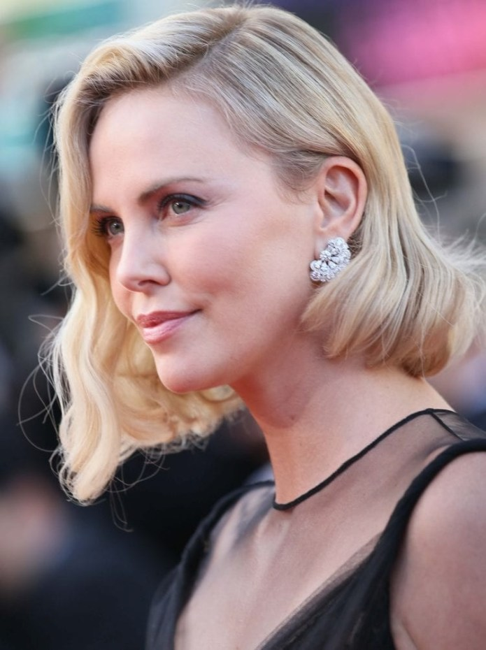 Charlize-Therons-Wavy-Asymmetrical-Bob Hairstyles for Women Over 40