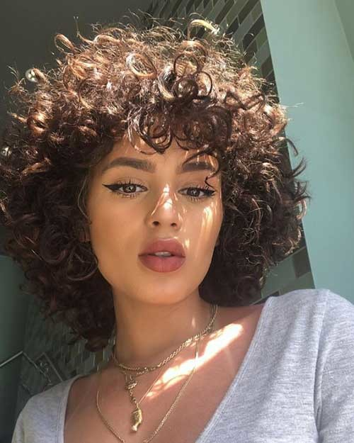Curly-Short-Hair-with-Bangs Cute Curly Short Hairstyles for Ladies