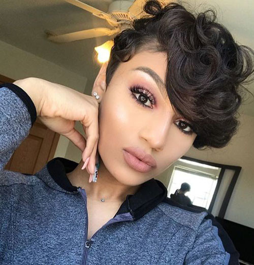 Cute-Long-Pixie-with-Wavy-Bangs Best Short Hair Cuts on Black Women in 2019