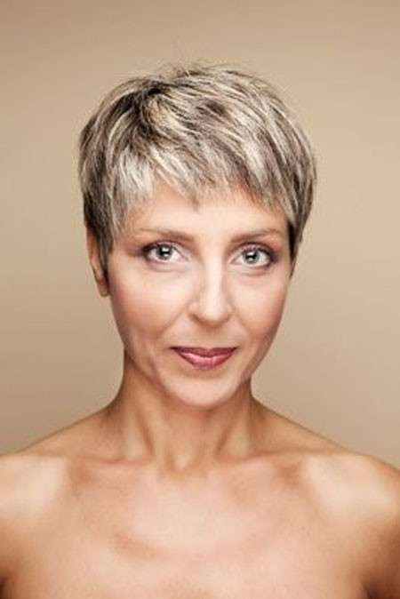 Extremely-Short-Two-Colored-Hair Short Hair for Older Women