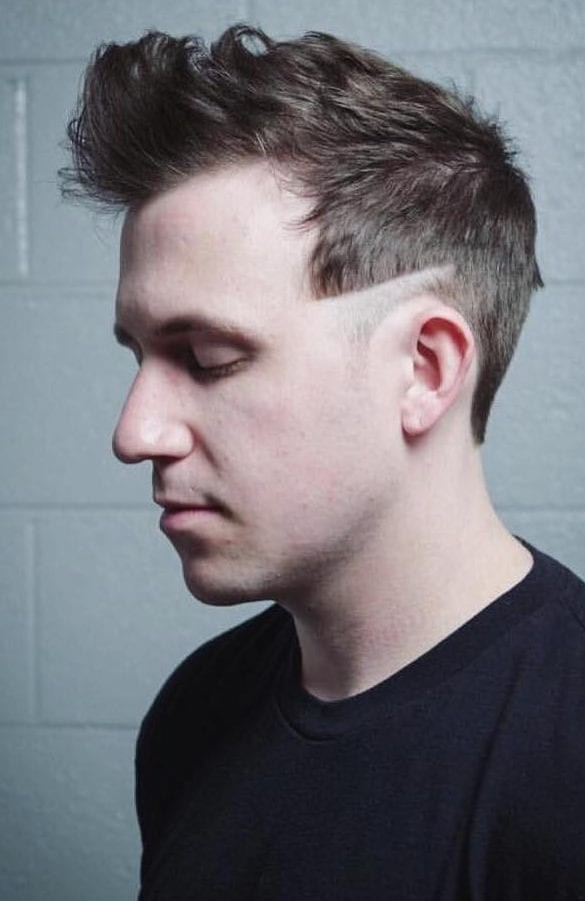 Frizzled-Top-with-Shaved-Temple Unique Haircut Designs for Men