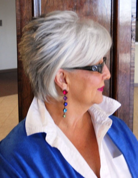 Layered-Grey-Interesting-Hair Short Hair for Older Women
