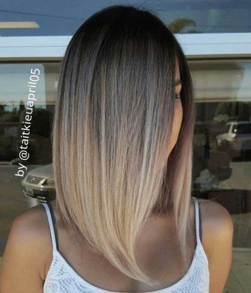 Long-Bob-Ash-Brown-To-Blonde-Hair Must-See Straight Hairstyles for Short Hair