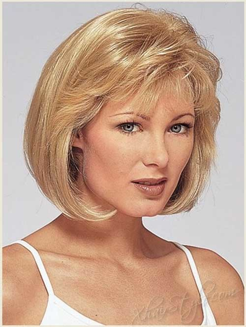 Older-Round-Faces-Women-Short-Haircut-with-Bangs Bob Cuts for Round Faces
