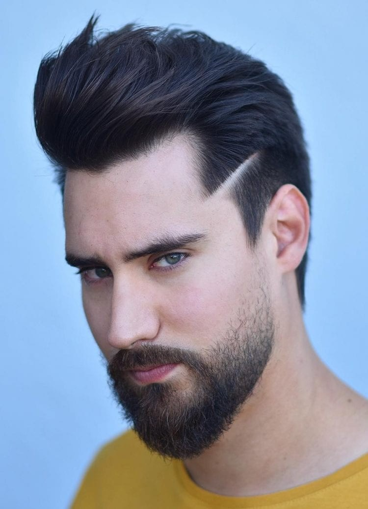 Open-Quiff-with-Temple-Hairline Unique Haircut Designs for Men