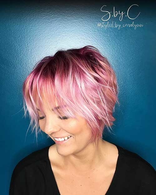Pink-Long-Pixie New Cute Hairstyle Ideas for Short Hair