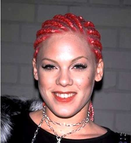 Red-Colored-Braided-Hairstyle-for-Black-Women Short Braided Hairstyle