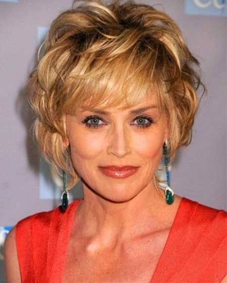 Short-Voluminous-Loose-Curls Short Hair for Older Women