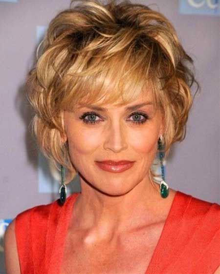 Short-Voluminous-Loose-Curls Short Hair for Older Women