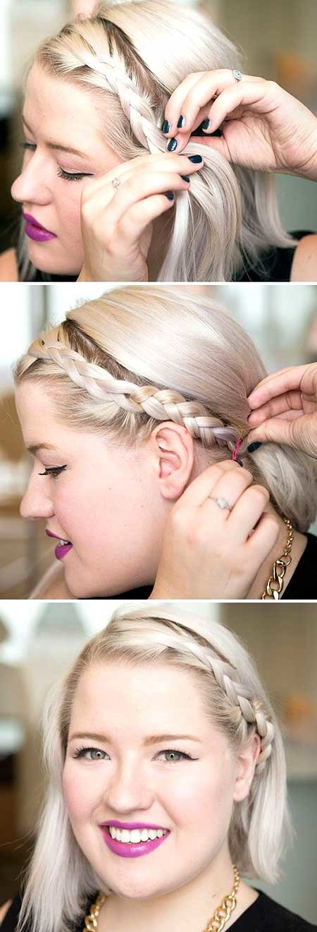 Simple-Side-Braid-Hairstyle-for-Short-Blunt-Hair Short Braided Hairstyle