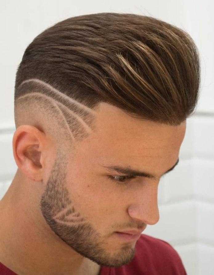 Skin-Fade-Pompadour-Hair-Design Unique Haircut Designs for Men