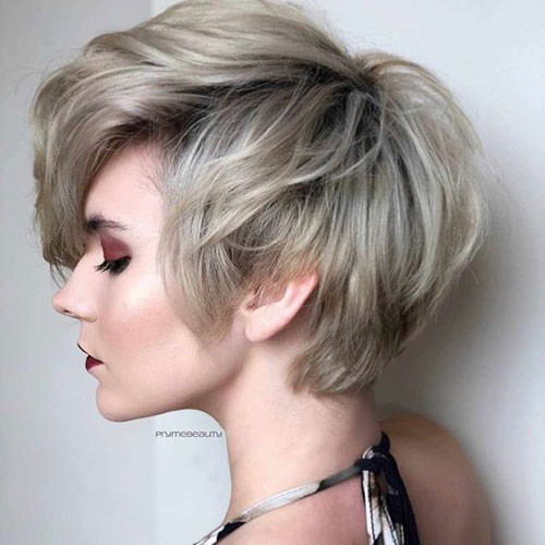 Thick-Ash-Colored-Pixie Latest Short Haircuts for Women 2019
