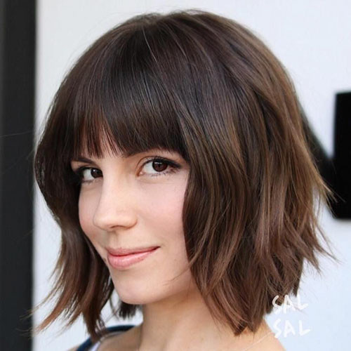 short-layered-cuts-with-bangs Best Short Layered Bob With Bangs