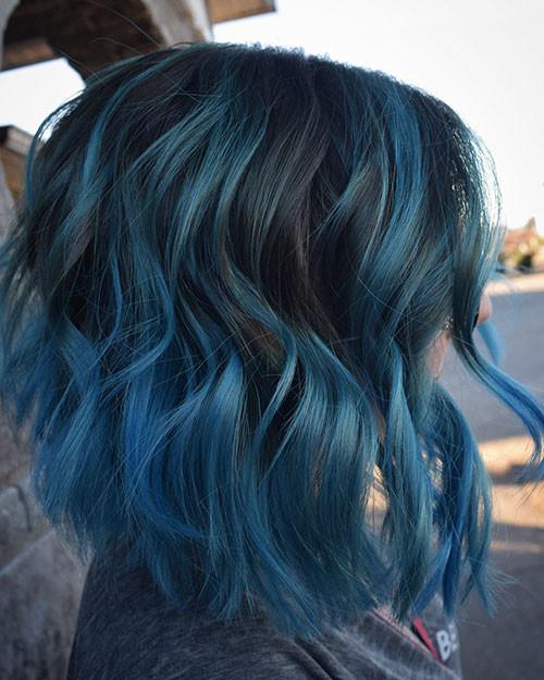 30-dark-blue-short-hair Popular Short Blue Hair Ideas in 2019